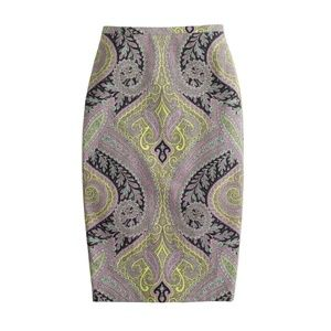 J Crew No 2 Pencil Skirt Sovereign Paisley Size 0